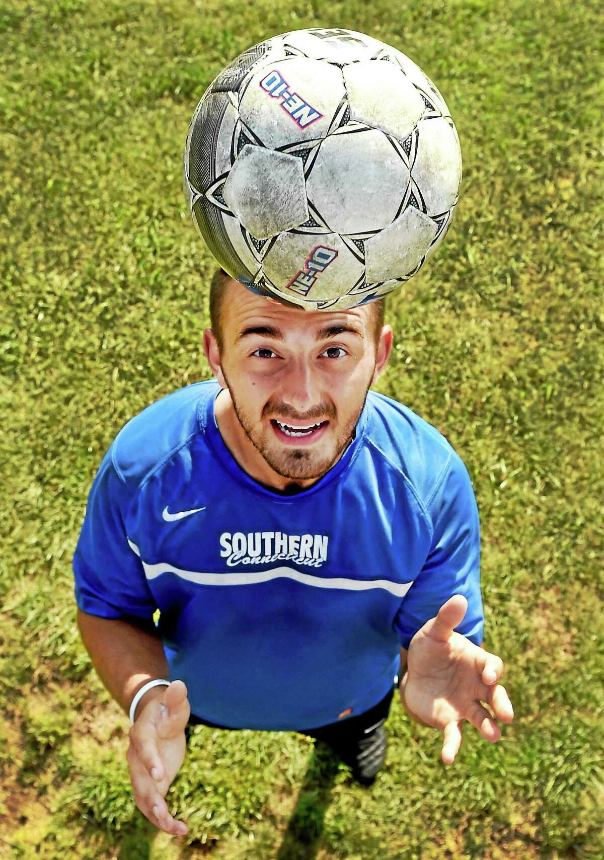Southern Connecticut State men's soccer captain Tyler Naef is photographed at practice last week.