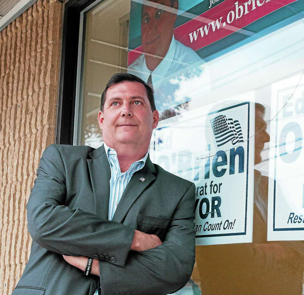 Then-West Haven Mayor elect Ed O'Brien at his campaign headquarters after winning the election in November 2013.