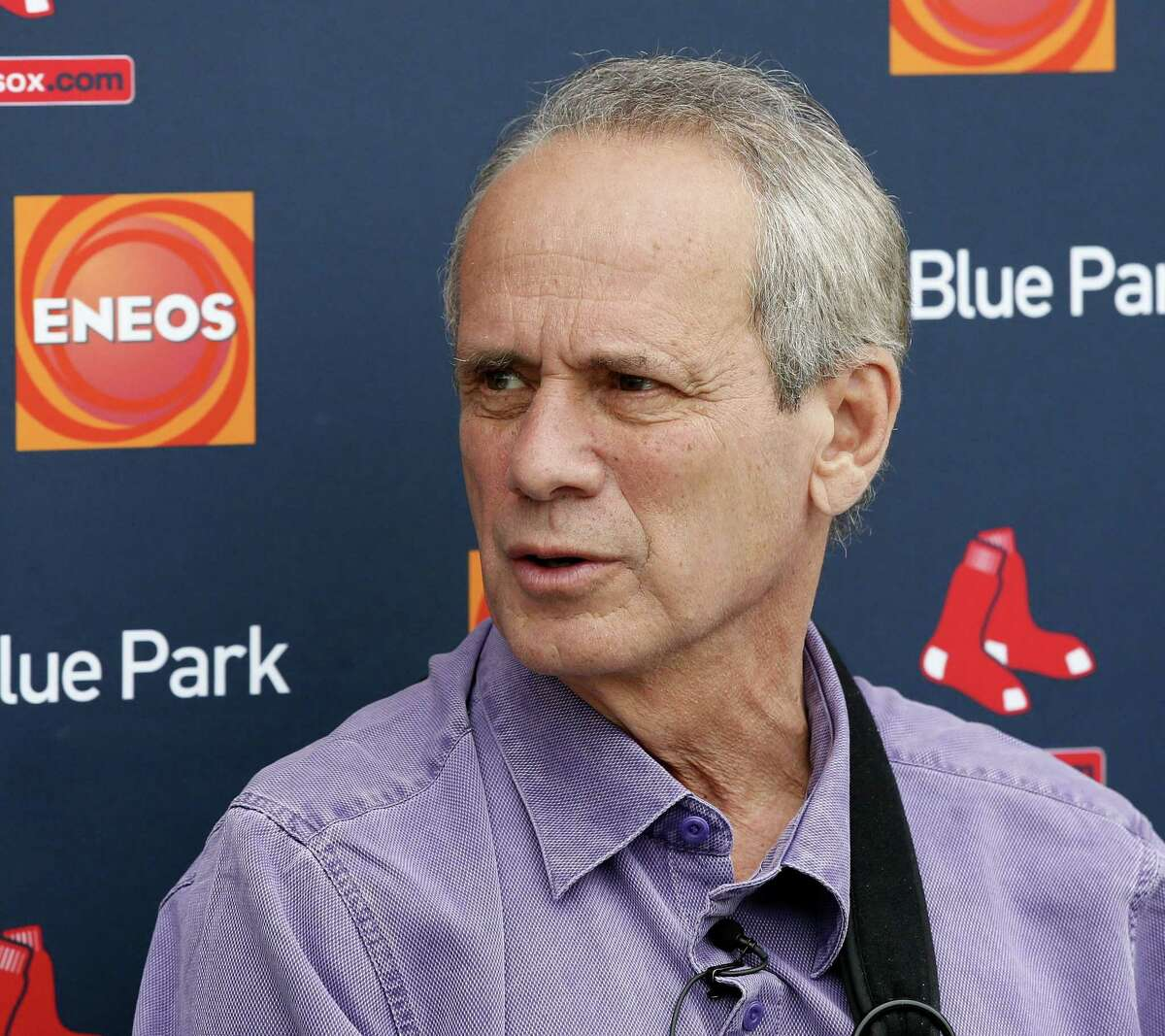File- This Feb. 25, 2015, file photo shows Boston Red Sox President and Chief Executive Officer Larry Lucchino, responding to questions during a news conference in Fort Myers Fla. Lucchino is stepping down this year. Team spokesman Kevin Gregg says in an email that Lucchino hopes to remain with the club in some capacity. Gregg also says Sam Kennedy, the executive vice president and COO of the Red Sox, is Lucchinoís choice to take over as president.(AP Photo/Tony Gutierrez, File)