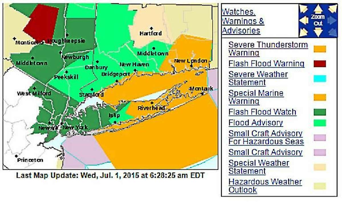A map of the various weather warnings and advisories issued by the National Weather Service as thunderstorms swept through Connecticut early Wednesday morning.