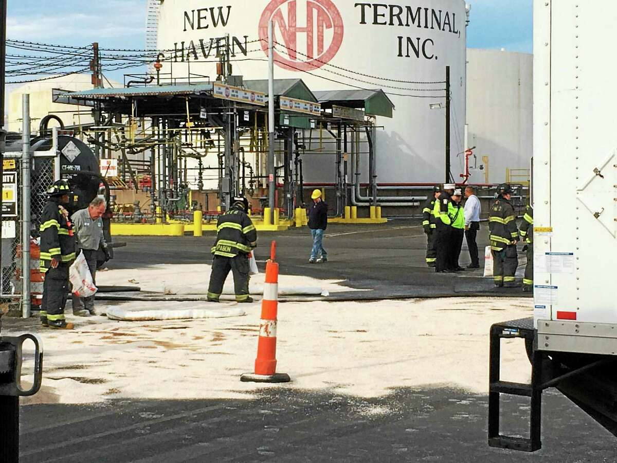 Part of Waterfront Street in New Haven was shut down near the Gateway Terminal after a heating oil spill Thursday morning.
