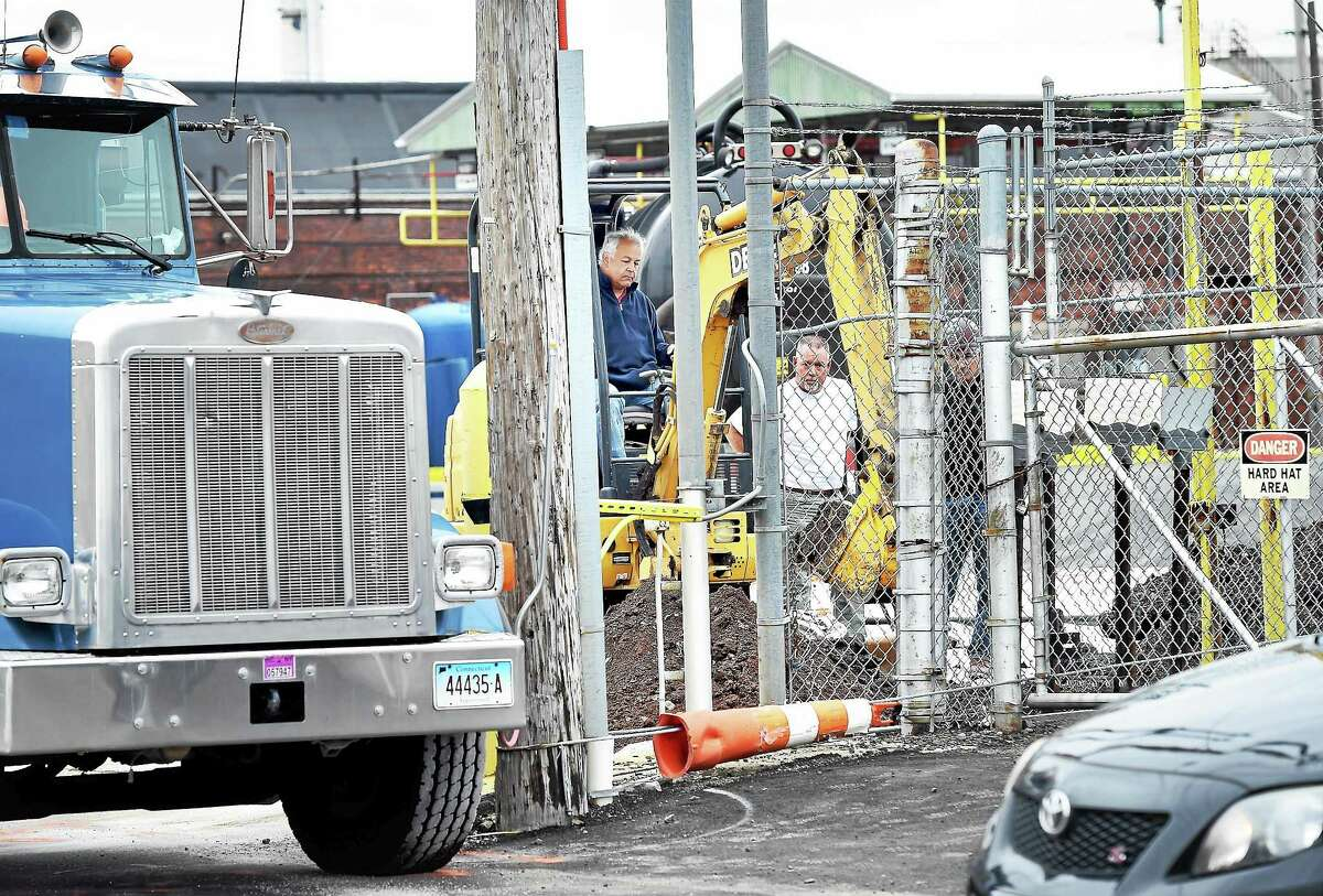 An area near the entrance to Gateway Terminal is excavated due to a heating oil leak Thursday.