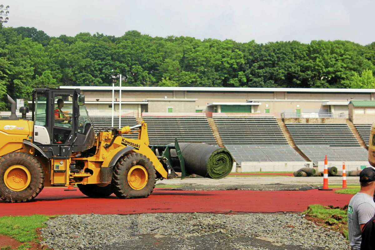 Construction is underway for new athletic fields at Hamden High School.