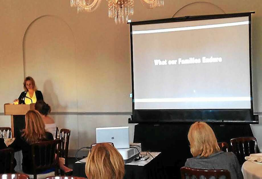 DCF Administrator Kristina Stevens speaks Thursday morning at the Three Branch Institute's workshop on Housing Stability for Children and Families at the New Haven Lawn Club. Photo: Kate Ramunni/New Haven Register