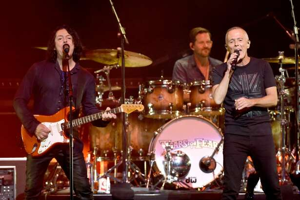 SACRAMENTO, CA - JULY 23:  Roland Orzabal (L) and  Curt Smith of Tears for Fears perform at Golden 1 Center on July 23, 2017 in Sacramento, California.  (Photo by Tim Mosenfelder/Getty Images)