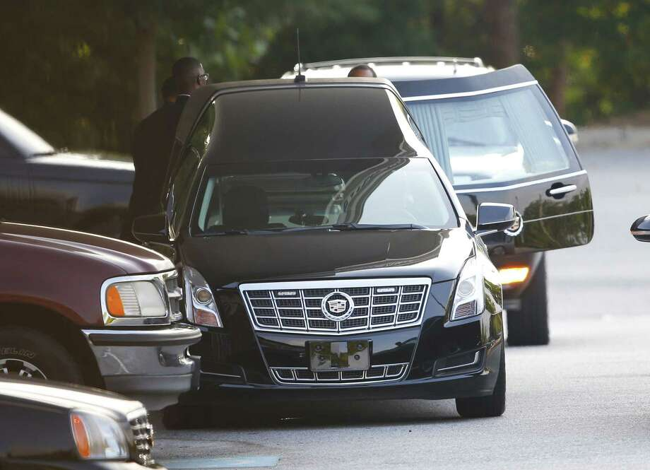 A hearse is unloaded before the funeral service for Bobbi Kristina Brown Saturday in Alpharetta, Ga.  Brown, the only child of Whitney Houston and R&B singer Bobby Brown, died in hospice care July 26, about six months after she was found face-down and unresponsive in a bathtub in her suburban Atlanta townhome. Photo: AP Photo/John Bazemore  / AP