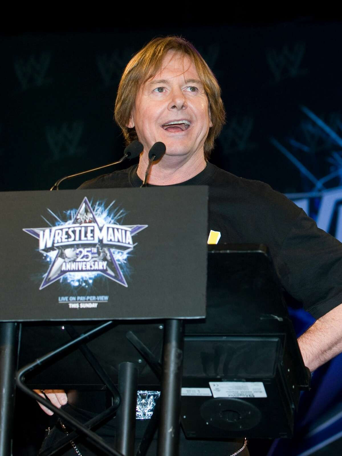 In this March 31, 2009, file photo, former professional wrestler Roddy Piper attends the 25th anniversary of WrestleMania press conference in New York. The WWE said Piper died Friday at 61.