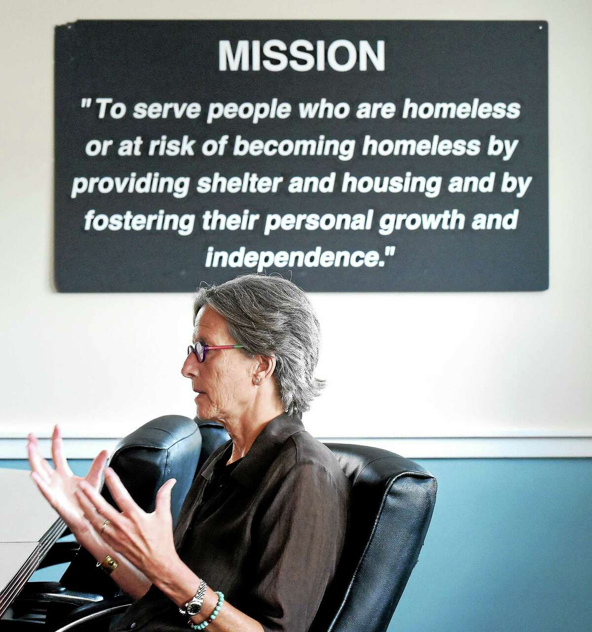 Columbus House Executive Director Alison Cunningham talks about homeless veterans during an interview at Columbus House in New Haven on 7/20/2015.