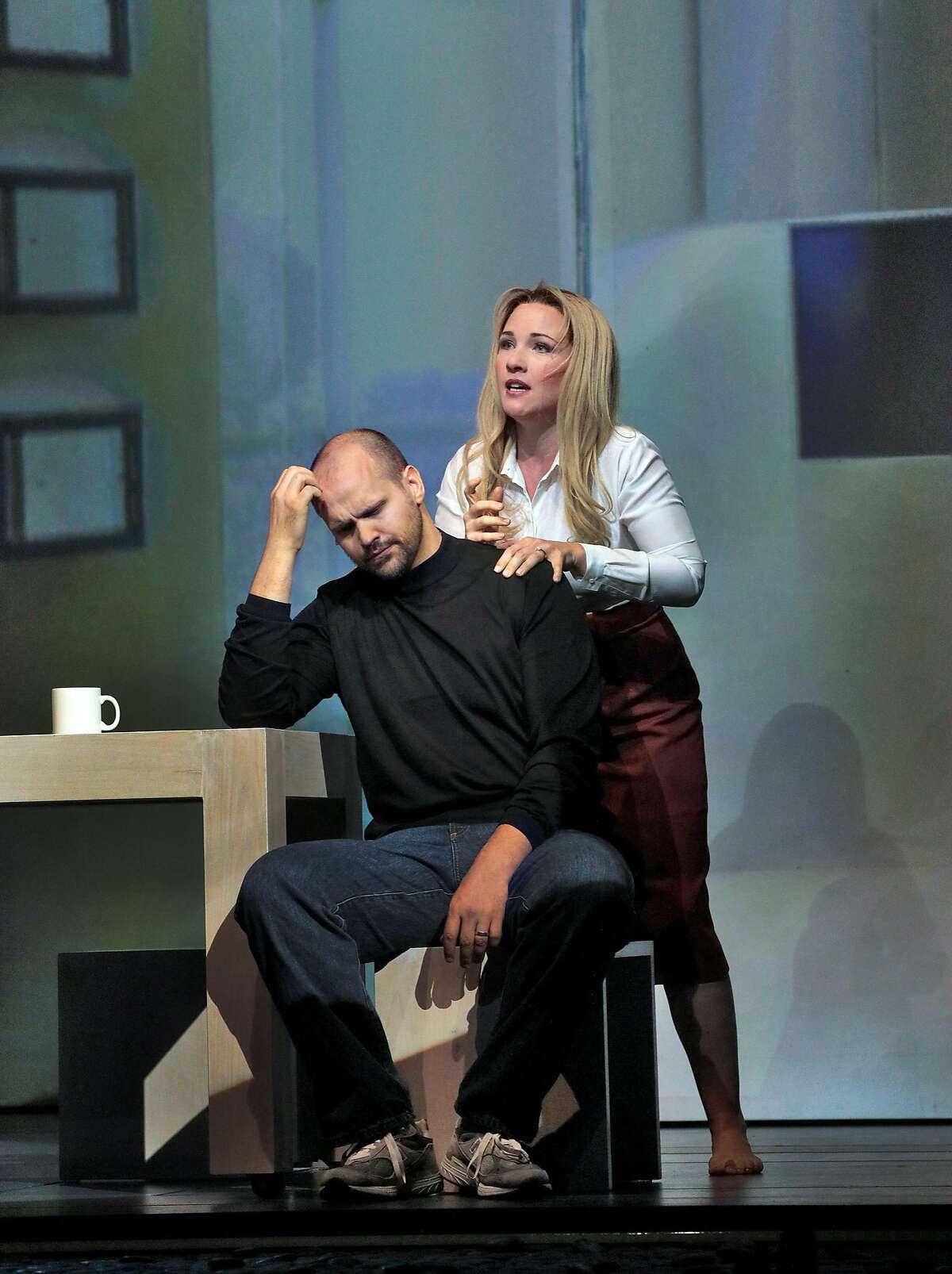 "Edward Parks (l.) as Steve Jobs and Sasha Cooke as Laurene Powell Jobs in Mason Bates' ""The (R)evolution of Steve Jobs"" at Santa Fe Opera"