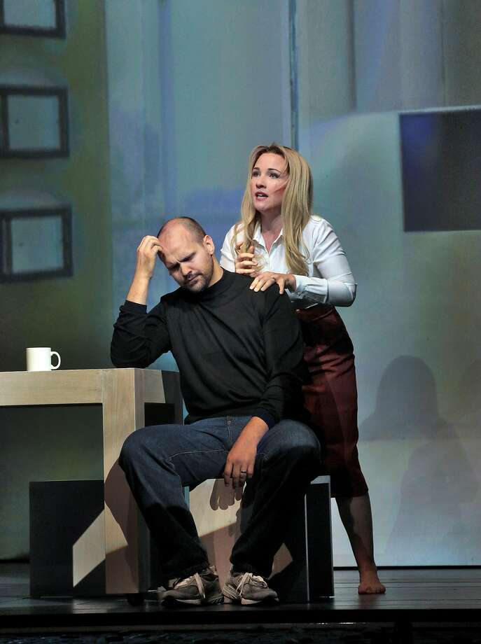 "Edward Parks (left) as Steve Jobs and Sasha Cooke as Laurene Powell Jobs in Mason Bates' ""The (R)evolution of Steve Jobs"" at Santa Fe Opera. Photo: Ken Howard/Santa Fe Opera"