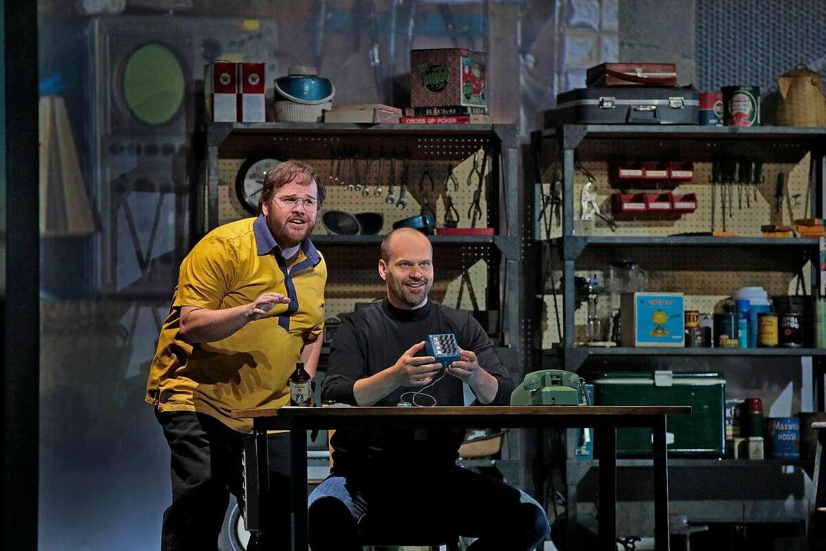 "Garrett Sorenson (l.) as Woz and Edward Parks as Steve Jobs in Mason Bates' ""The (R)evolution of Steve Jobs"" at Santa Fe Opera"