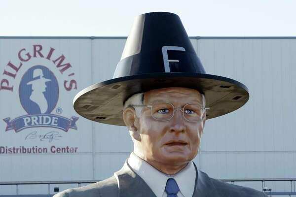 "A statue of Pilgrim's Pride leader Lonnie ""Bo"" Pilgrim is displayed near Pittsburg, 110 miles east of Dallas."