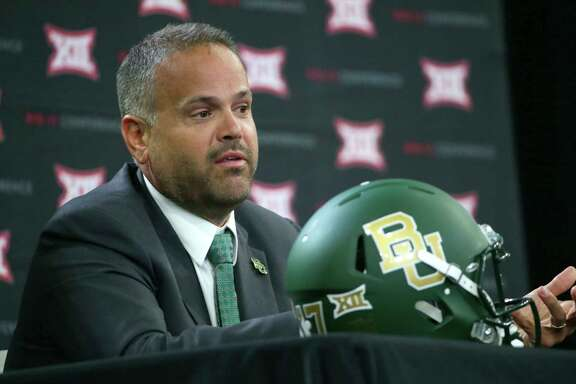 Baylor head football coach Matt Rhule speaks during the Big 12 NCAA college football media day in Frisco, Texas, Tuesday, July 18, 2017. (AP Photo/LM Otero)