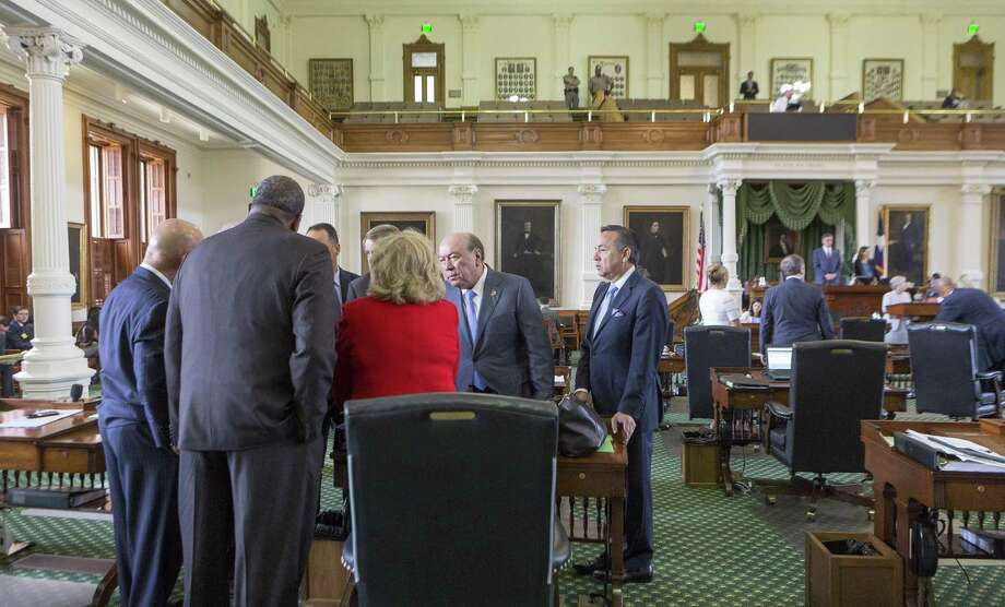 Senators gather around Finance Committee Chair Jane Nelson on Monday, the seventh day of a special session, at the Texas Capitol in Austin. Photo: Stephen Spillman /For The San Antonio Express-News / stephenspillman@me.com Stephen Spillman