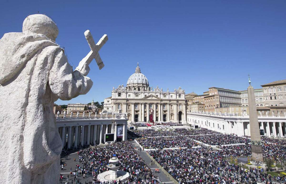 St. Peter's Square on Palm Sunday as Mass is celebrated by Pope Francis.