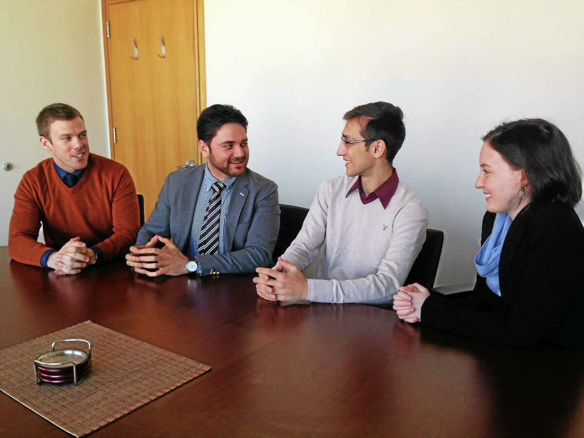 Members of Prologue Strategies, from left, Tom Berry, Hamed Zarghoon, Saifullah Khan and Miranda Melcher.