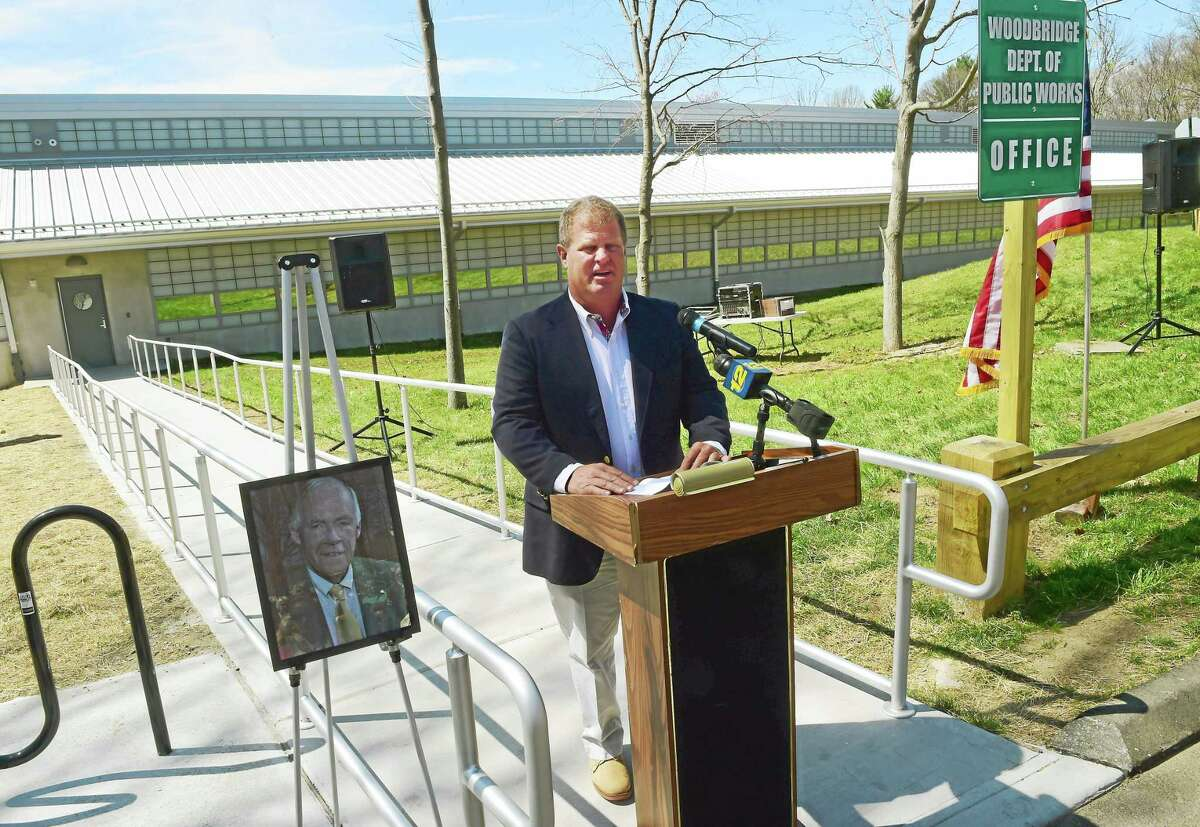 Chris Sorensen of Woodbridge, chairman of the Woodbridge Public Works Building Committee, shares thoughts about the new building during a dedication ceremony Thursday.