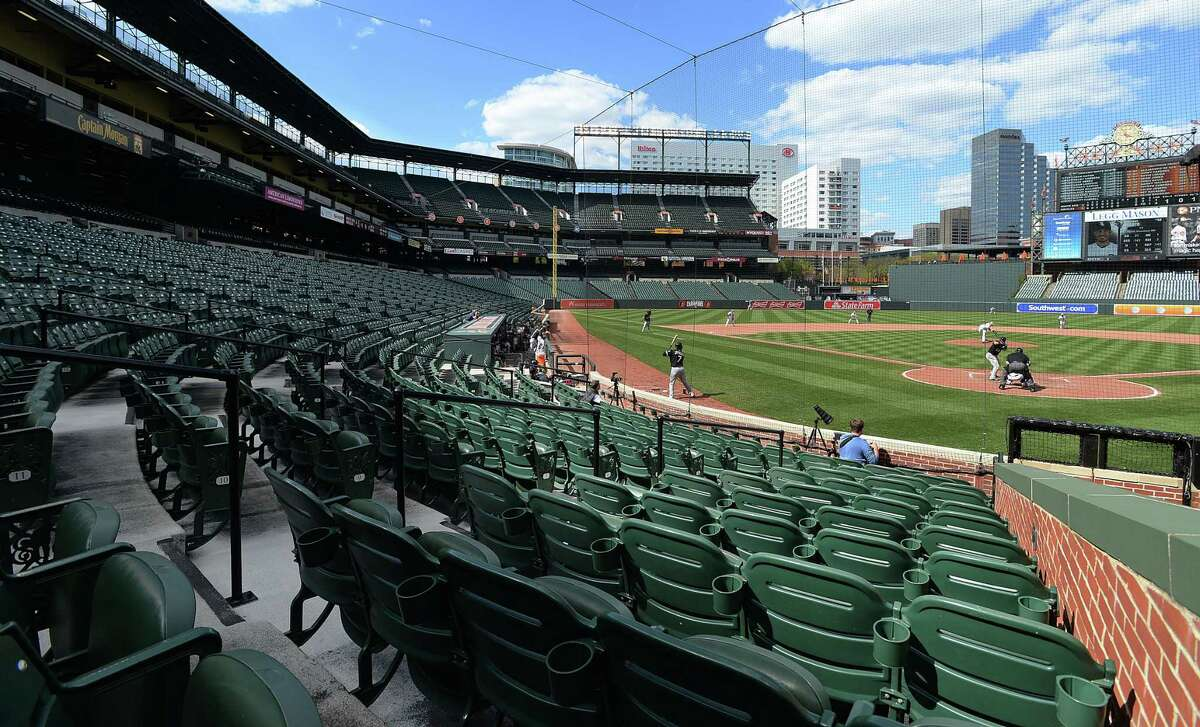 The Chicago White Sox bat against the Orioles in the eighth inning in a stadium without fans on Wednesday in Baltimore. Due to security concerns the game was closed to the public. A state of emergency was issued Monday after riots erupted following the funeral of Freddie Gray. The Orioles won 8-2.