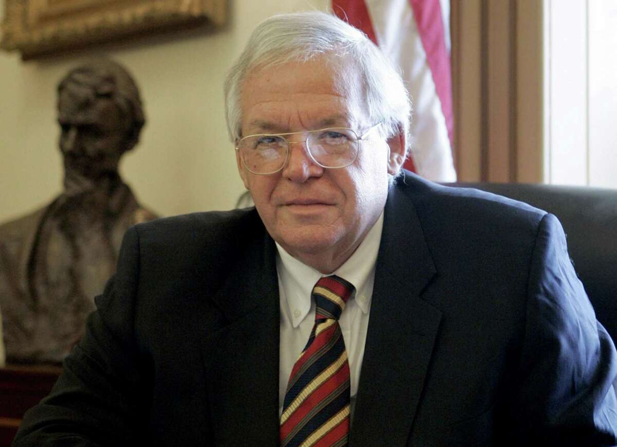 FILE - In this June 15, 2007 file photo, House Speaker Dennis Hastert, R-Ill., sits for a portrait in his Capitol Hill office. On Thursday, May 28, 2015, federal prosecutors indicted Hastert, 73, on bank-related charges.