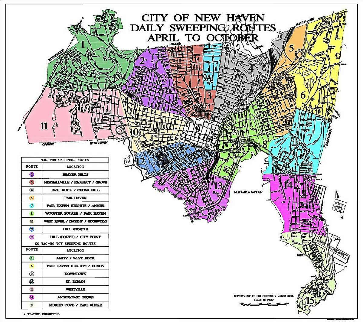 New Haven Street Sweeping Map for Spring 2015