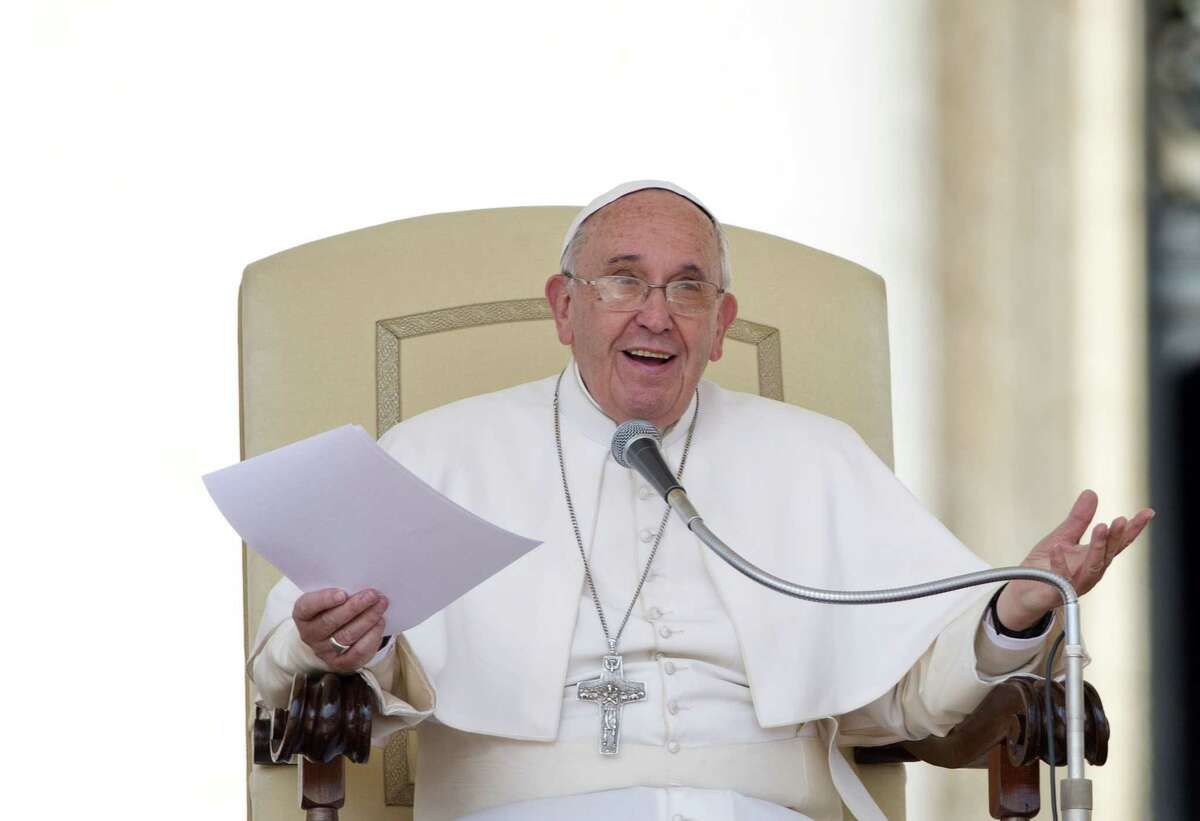 Pope Francis delivers his message during the weekly general audience in St. Peter's Square at the Vatican, Wednesday, April 29, 2015. (AP Photo/Alessandra Tarantino)
