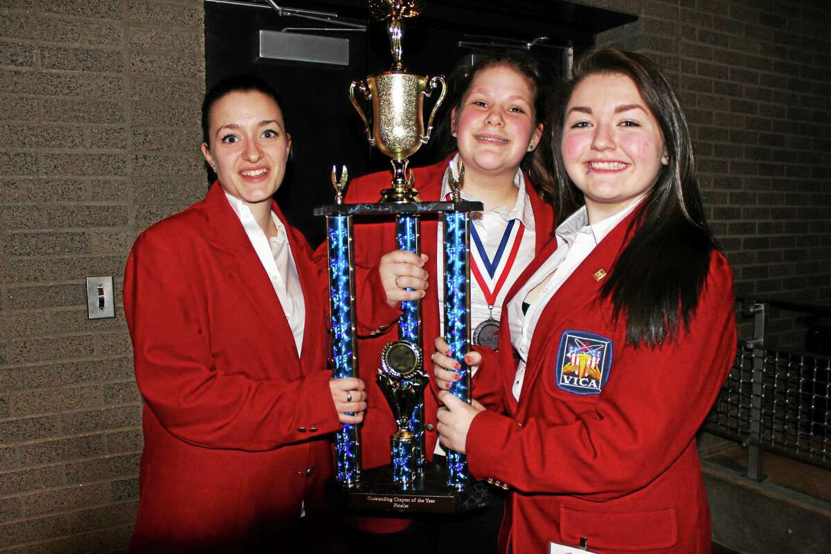 From left, Annie Froschl, Giavanna Dalby and Sara Targouski, who placed second in their event category.