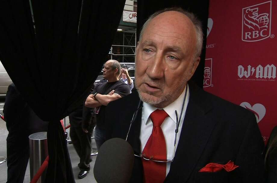 In this image made from APTN video, Pete Townshend arrives at Musicares event in New York, Thursday, May 28, 2015. (AP Photo/APTN) Photo: AP / APTN