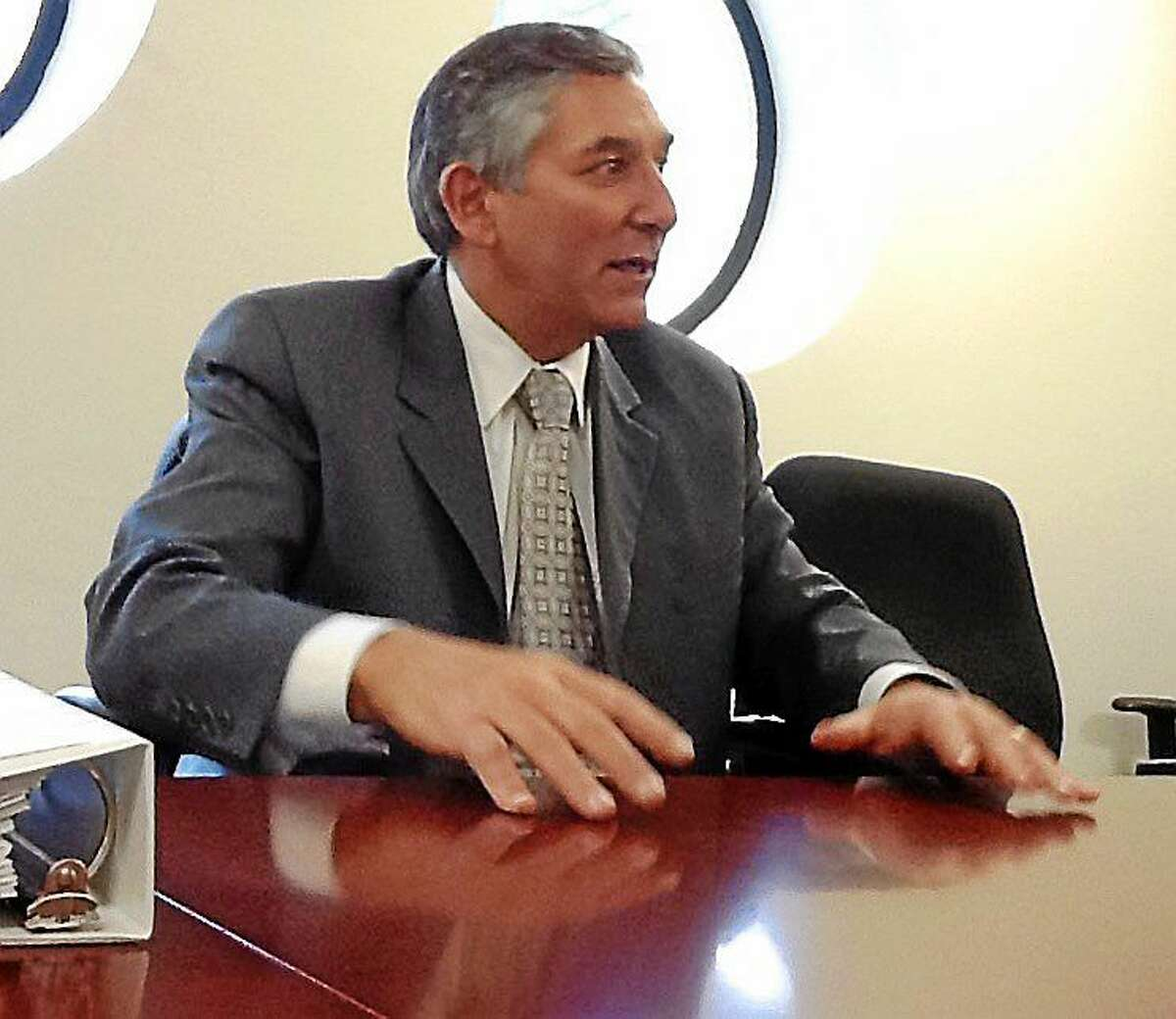 State Senate Minority Leader Len Fasano makes a point while speaking to the New Haven Register editorial board.
