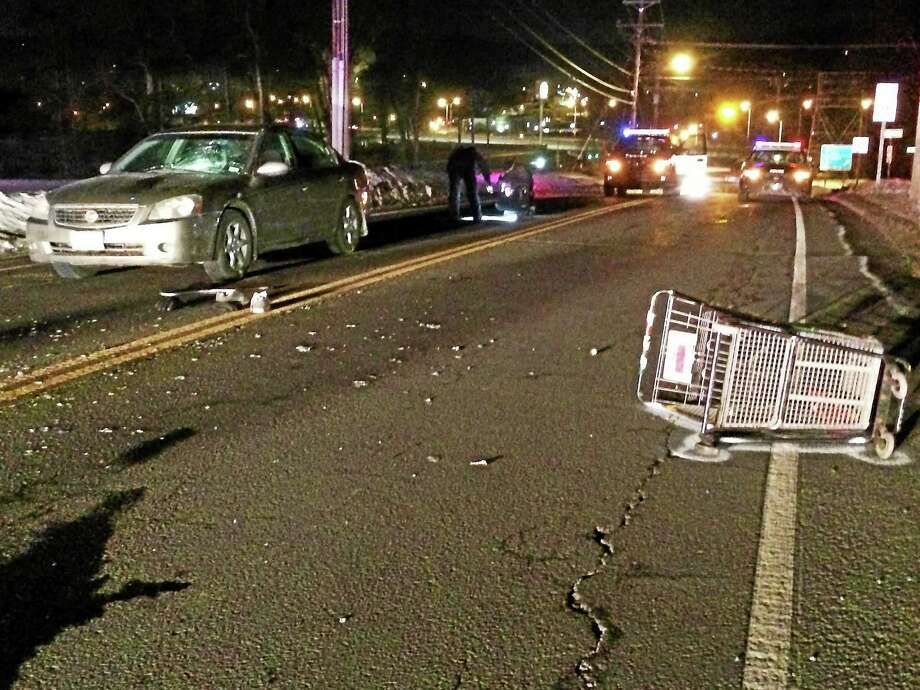 Police work at the scene where a pedestrian was struck on Route 67 in Seymour Friday. Photo: CONTRIBUTED PHOTO