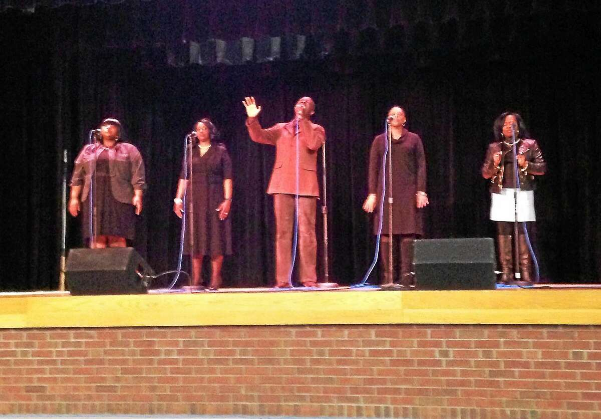 KATE RAMUNNI — NEW HAVEN REGISTER Kevin Monroe and Devotion performed at a Black History Month event in Hamden Friday.