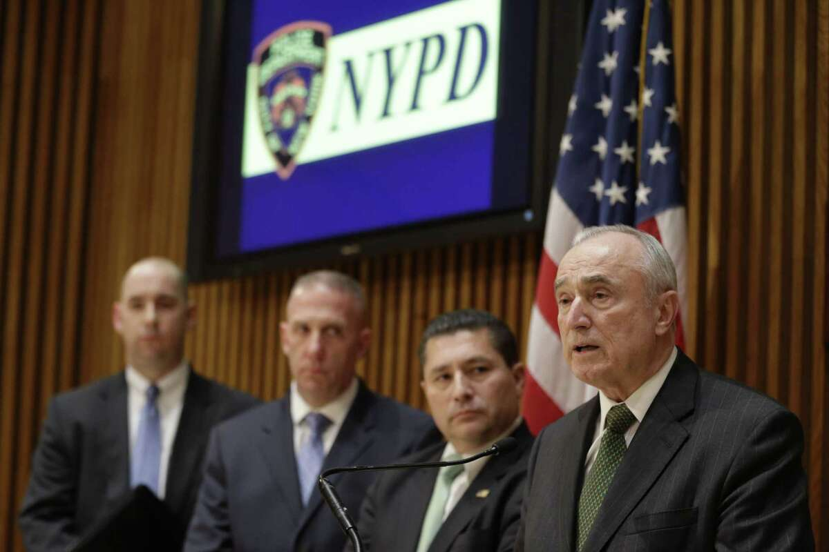 New York Police Commissioner Bill Bratton, right, speaks during a news conference at police headquarters, Wednesday, Feb. 25, 2015, in New York, regarding three men who were arrested on charges of plotting to travel to Syria to join the Islamic State group and wage war against the U.S. Bratton is joined by assistant director in charge of the FBIís New York field office Diego Rodriguez, second from right, NYPD chief of counterterrorism James Waters, second from left, and Bill Sweeney special agent in charge of the counterterrorism division of the New York field office. (AP Photo/Mary Altaffer)