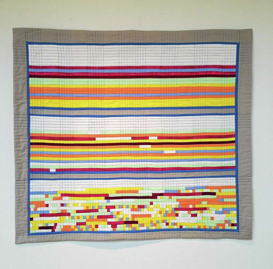 "Nancy Bardach's ""Defragging - A Time-Lapse View,"" machine quilted, cotton fabric, thread and batting. Photo: CAW"