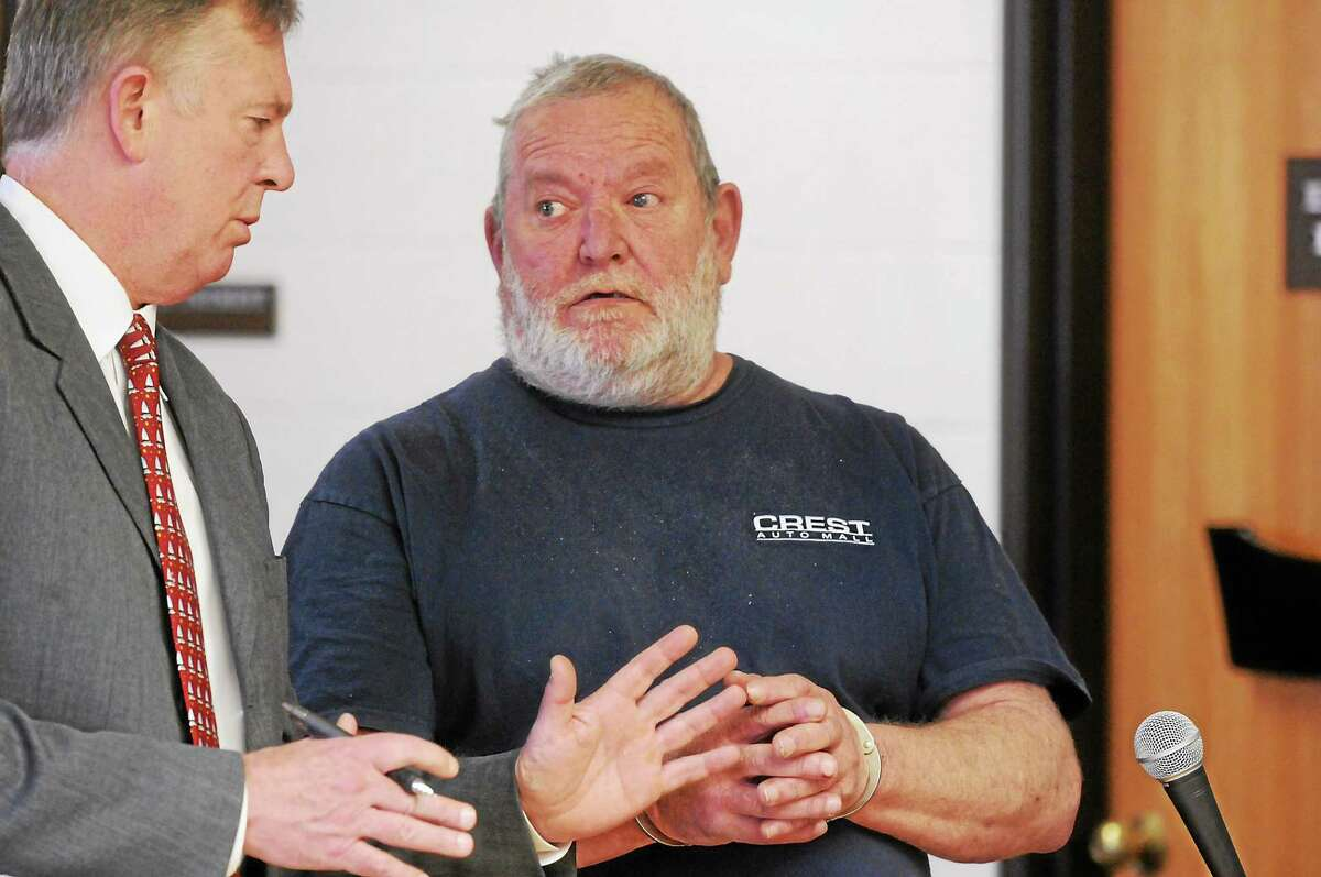 Arthur W. Gauvin with public defender Bruce Weiant at his arraignment April 2014 in Superior Court in Derby.