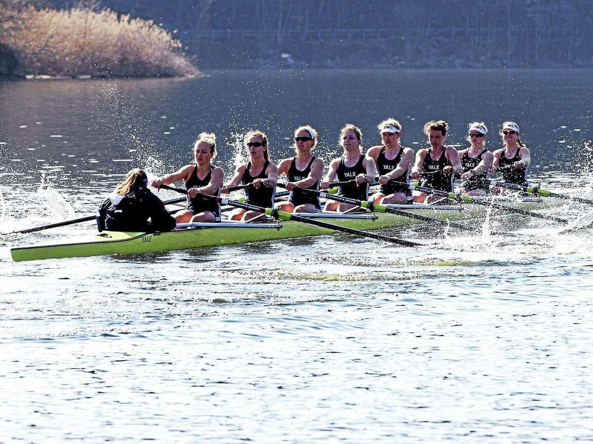 Steve Musco Members of the Yale women's crew varsity eight compete against Princeton during the spring. Yale will compete in the national championships this weekend in California.
