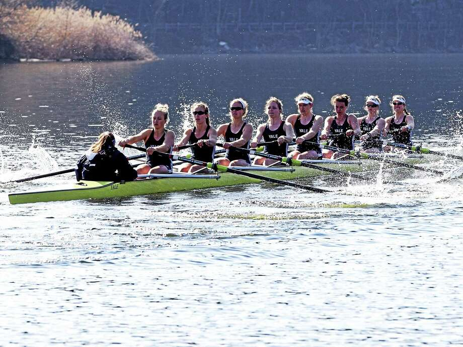 Steve Musco  Members of the Yale women's crew varsity eight compete against Princeton during the spring. Yale will compete in the national championships this weekend in California. Photo: Steve Musco / Steve Musco