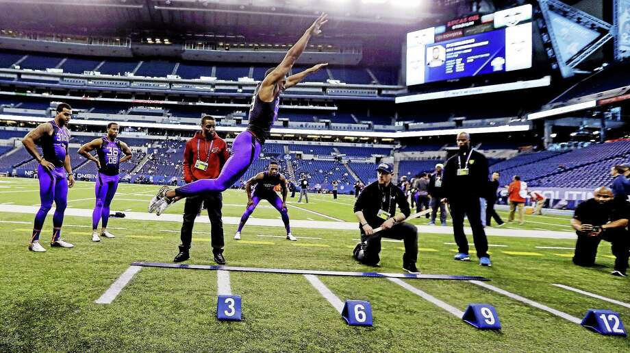 UConn defensive back Byron Jones, who set a NFL combine record in the broad jump, could be the first Connecticut native taken in the first round of the NFL draft since Dwight Freeney was picked 11th overall in 2002. Photo: The Associated Press File Photo   / AP