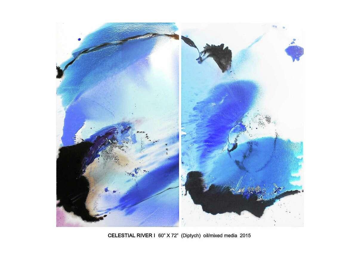 """Karen Green Recor's """"Celestial River"""" mixed-media diptych"""