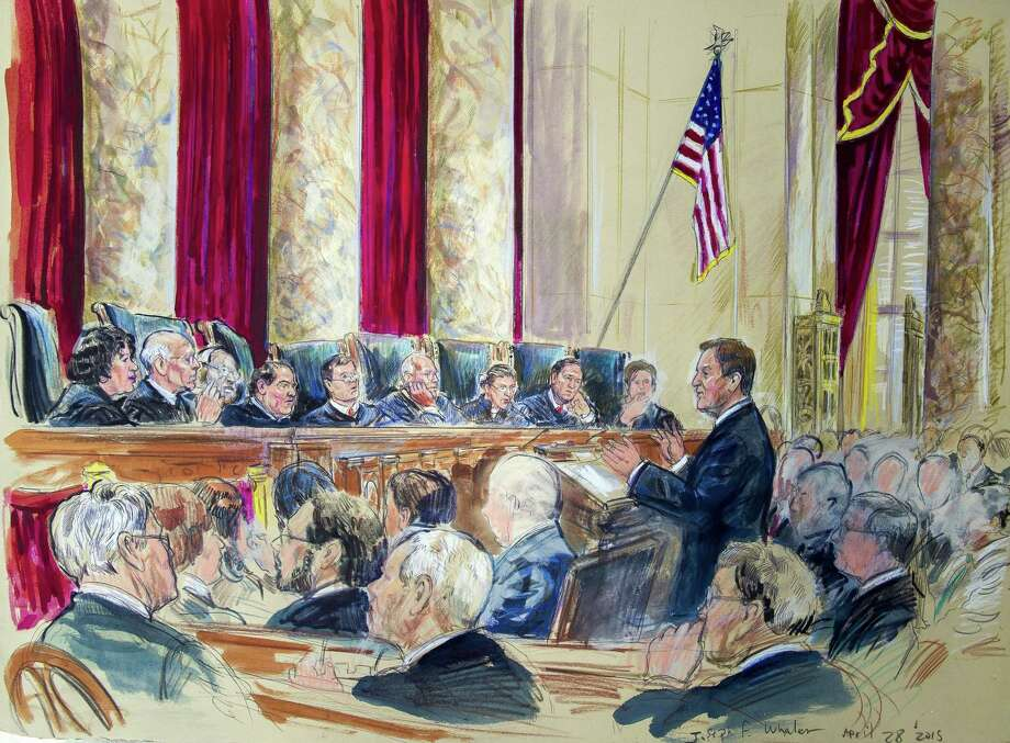 This April 28, 2015, artist rendering shows Tennessee Associate Solicitor General Joseph Walen arguing before the Supreme Court hearing on same-sex marriage in Washington. Justices, from left are, Sonia Sotomayor, Stephen Breyer, Clarence Thomas, Antonin Scalia, Chief Justice John Roberts, Anthony Kennedy, Ruth Bader Ginsburg, Samuel Alito Jr., and Elena Kagan. The Supreme Court's four liberal justices have been in the majority in virtually all the year's biggest cases. They have found a fifth vote to form a majority in Kennedy and more surprisingly, Roberts. homas was even their partner in one 5-4 ruling. Photo: (AP Photo/Dana Verkouteren, File) / AP