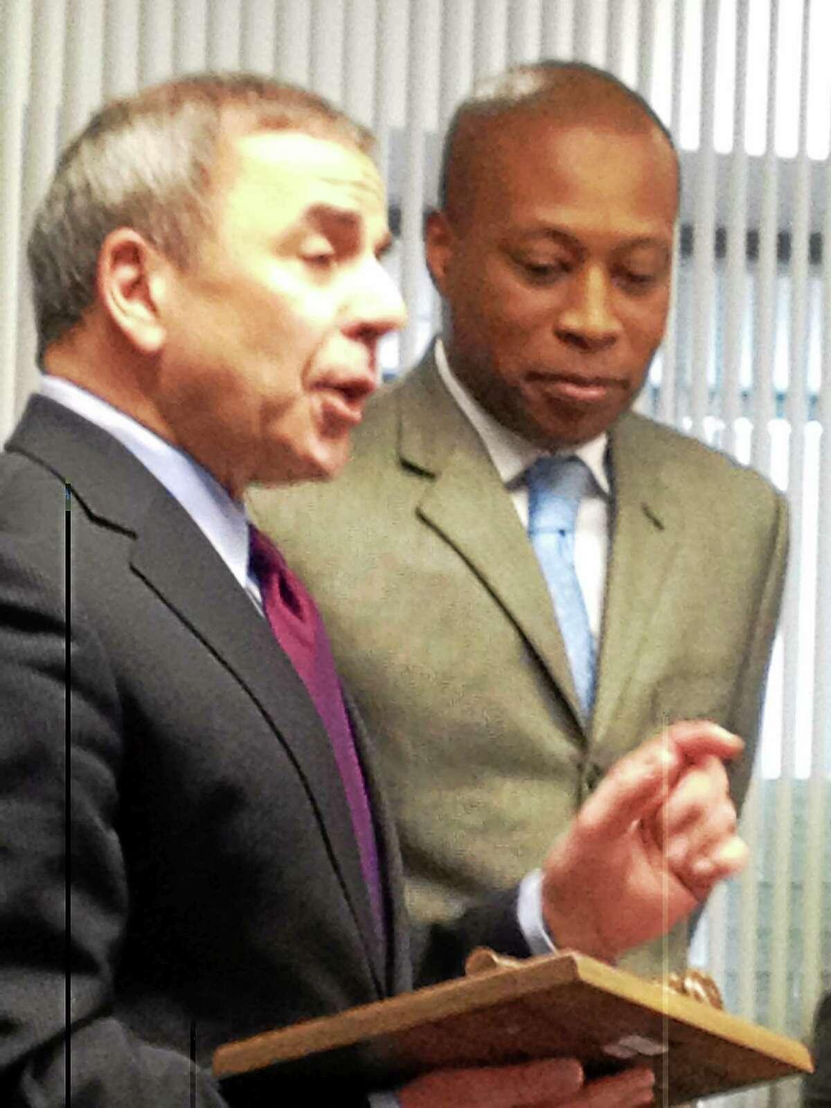 North Haven First Selectman Michael Freda (left) and Hamden Mayor Scott Jackson