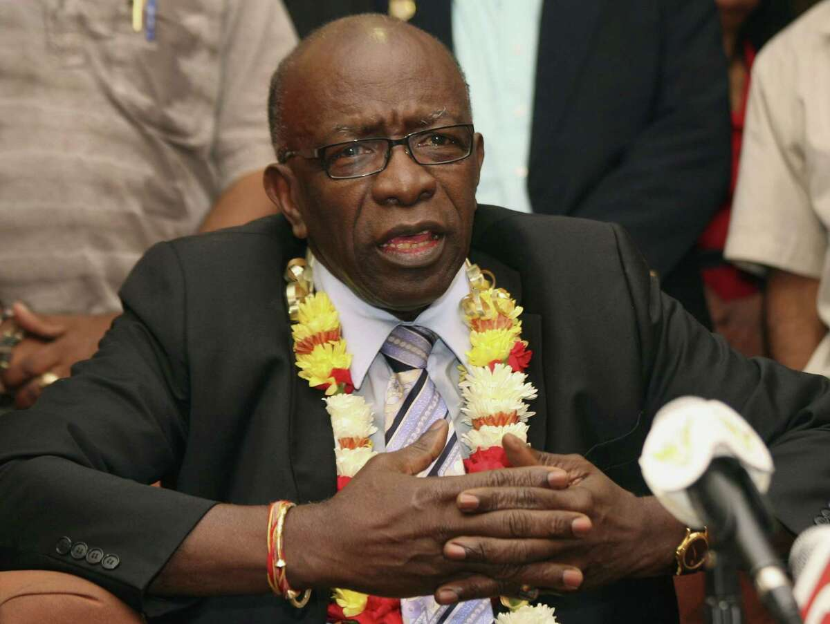 In this June 2, 2011 photo, suspended FIFA executive Jack Warner gestures during a news conference in Port-of-Spain, in his native Trinidad and Tobago. Warner was one of the 14 people indicted Wednesday May 27, 2015 in the U.S. on corruption charges.