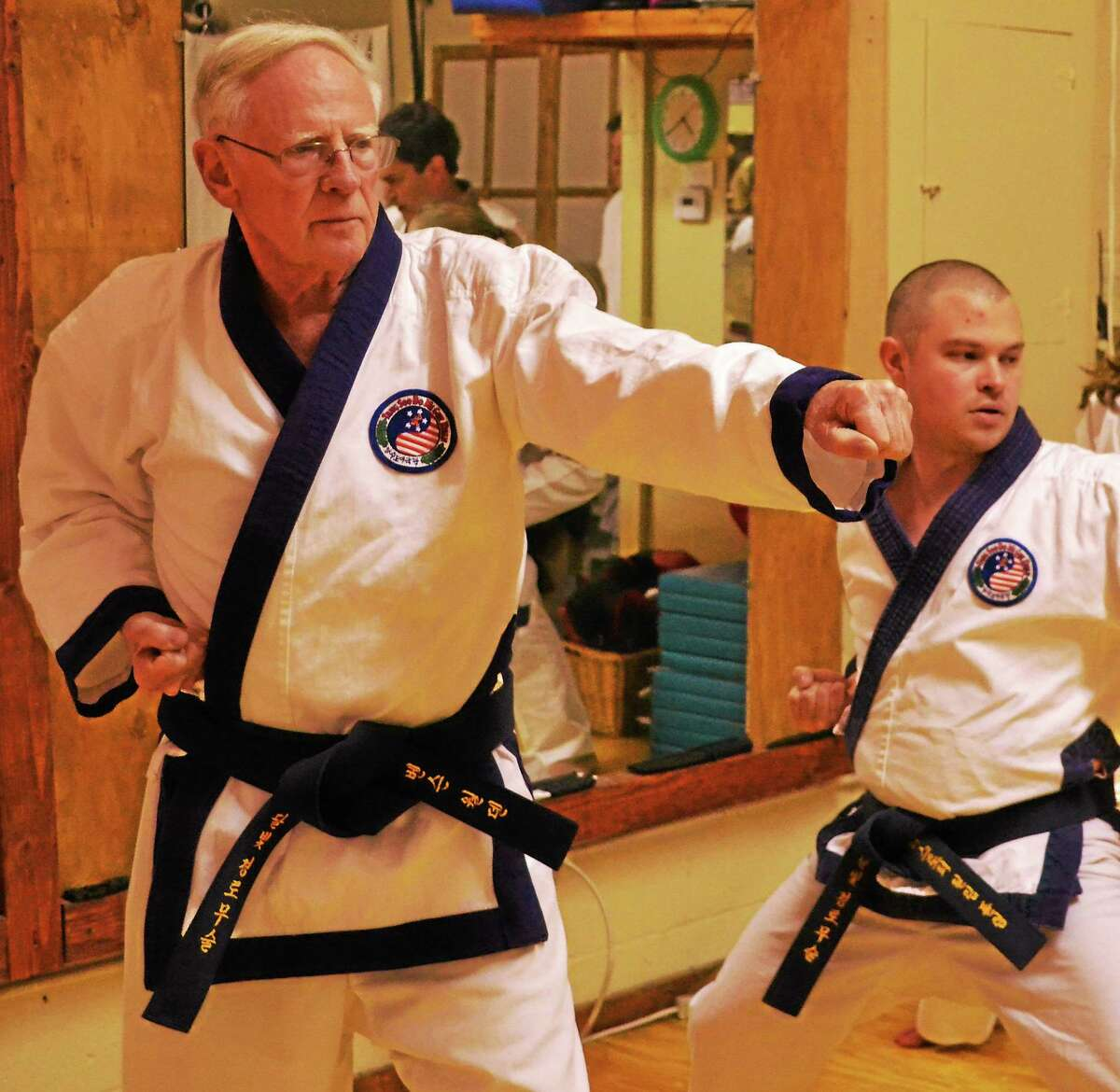 George Benson Werthan practices Tang Soo Do at Moonlit Path Martial Arts in Branford.