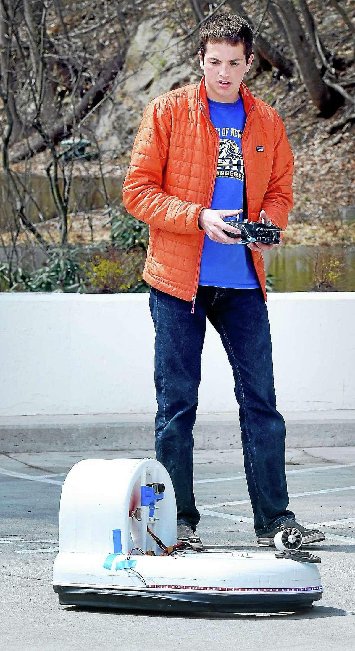 Sheehy demonstrates his ninth generation hovercraft.