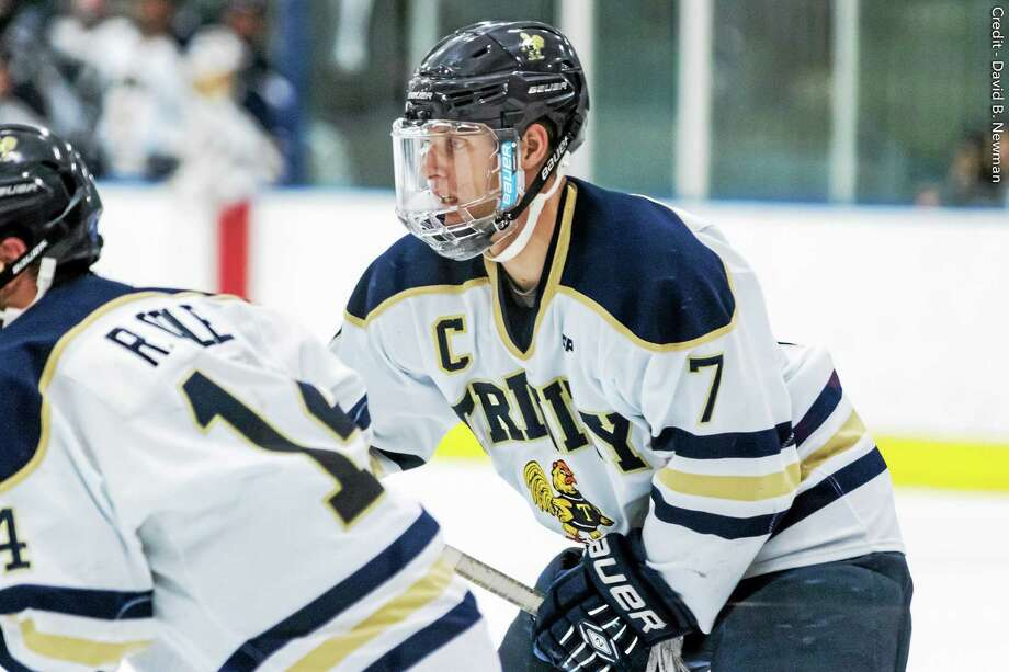 Cheshire resident Michael Flynn has helped the Trinity hockey team to a spot in the Division III Frozen Four. Photo: Photo Courtesy Of Trinity Athletics   / David B. Newman PhotoByNewman.com