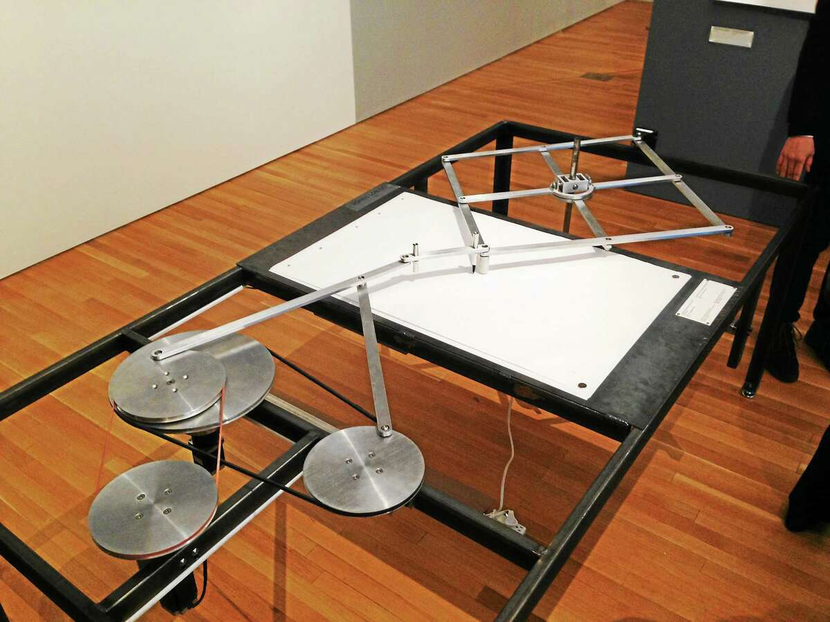 """Karl Chu's """"Catastrophe Machine"""" is a drafting machine that exhibits the variation and unpredictability of stochastic math and catastrophe theory."""