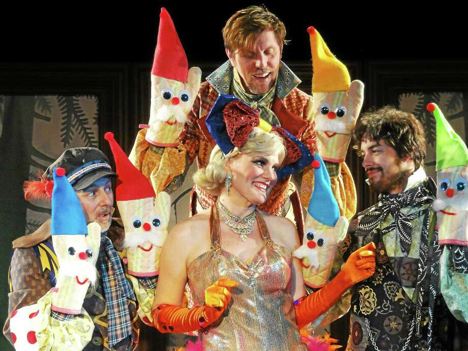 """Clockwise from left, Bert Bernardi, Jimmy Johansmeyer, Justin Rugg and Shelley Marsh Poggio in """"The Brothers Grimm and a Showgirl."""" Photo: Pantochino"""