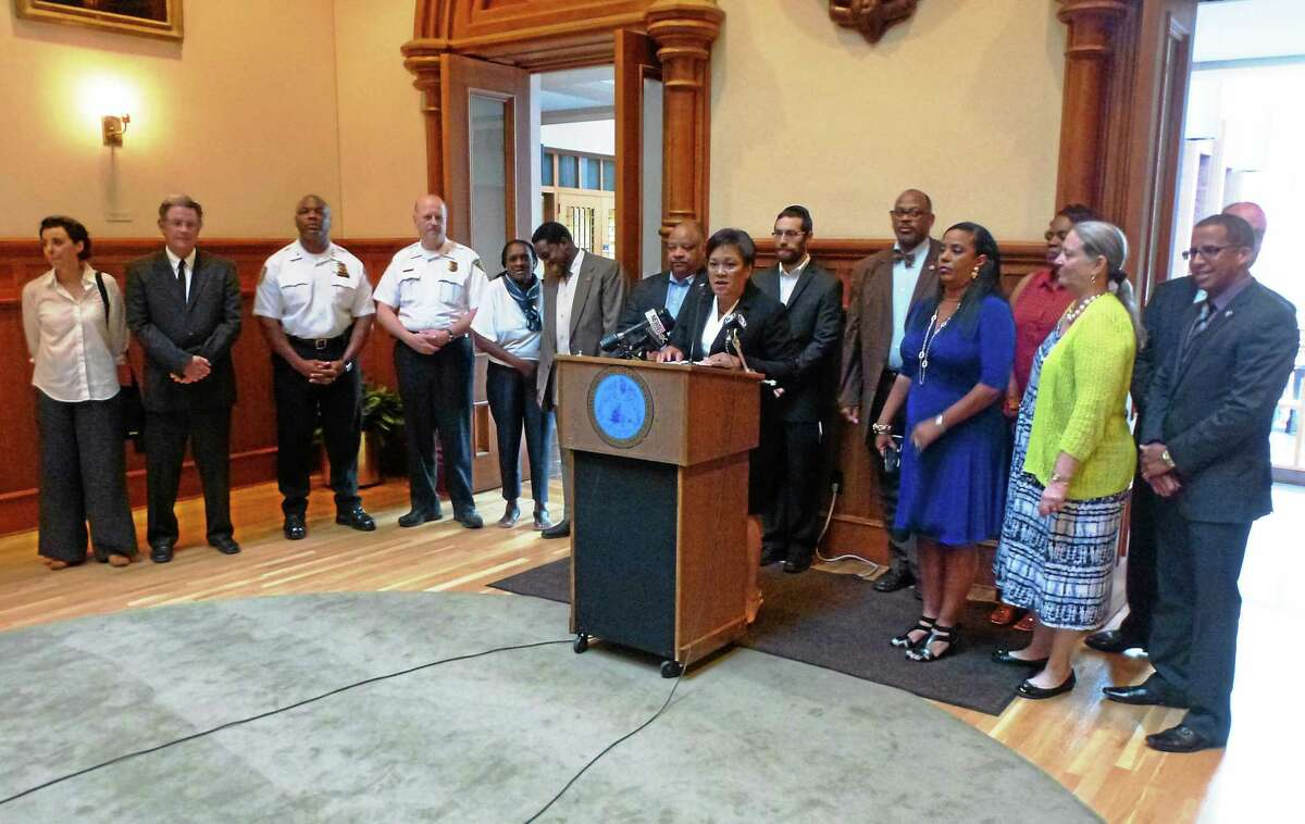 Mayor Toni Harp speaks during a press conference announcing creation of a 17-member task force to analyze police and community relations and recommend ways to improve the association between the two.
