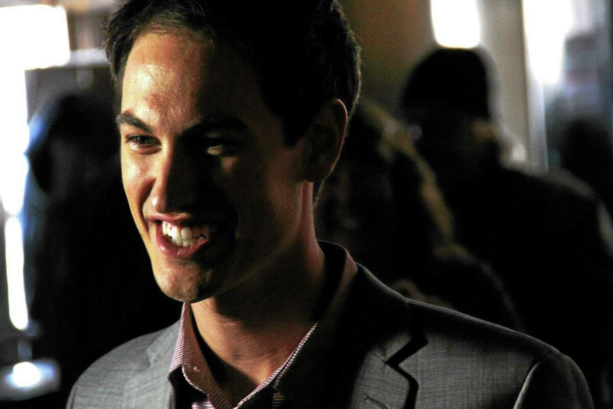 Daytona 500 winner Joey Logano is all smiles during a visit to Portland Restaurant with his new wife, Brittany Logano.
