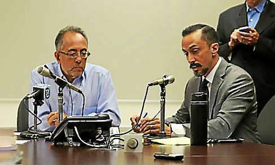 SEEC Commissioner Sal Bramante and Staff Attorney Kevin Ahern Photo: Courtesy CT News Junkie