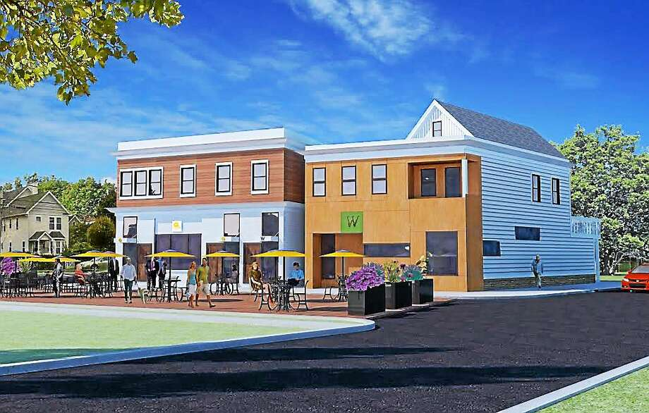 Artist rendering of proposed apartment building and 'G Bakery' from Ashmun and Munson Streets. There are a total of three buildings that will be converted to 8 apartments with 'G Bakery' on the first floor. Photo: Journal Register Co.