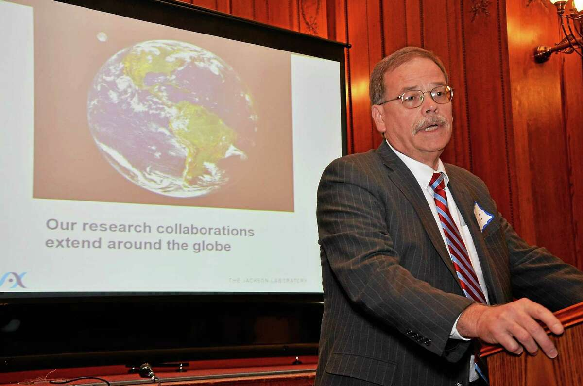 Mike Hyde, vice president for external affairs and strategic partnerships with Jackson Laboratory in Farmington, speaks at a forum on impact of biotechnology at the James Blackstone Memorial Library in Branford Thursday.